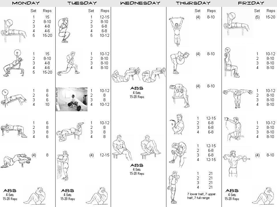 Body Workout Timetable Pictures